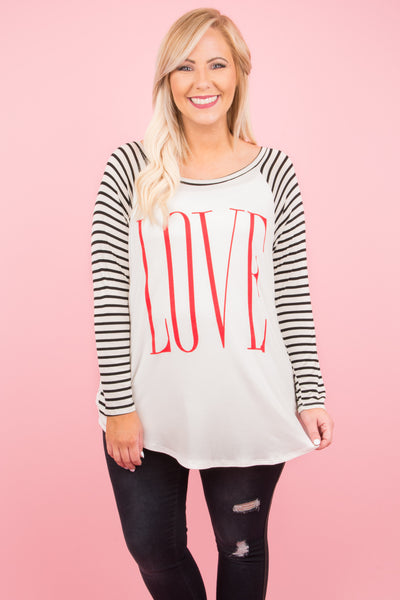 All You Need Is Love Top, Ivory-Red