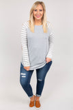 shirt, long sleeves, elbow patches, curved hem, gray, white stripes, striped sleeves, comfy, fall, winter