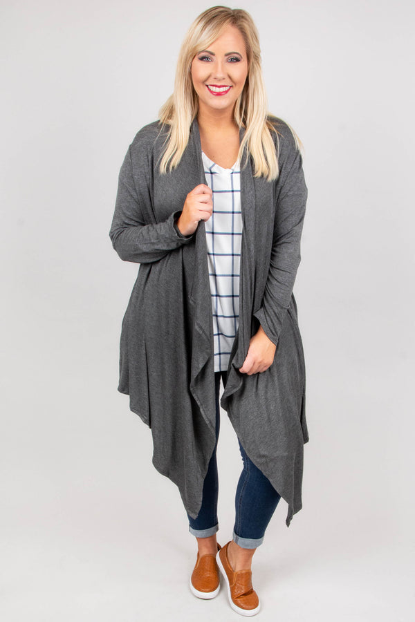 Soft And Simple Cardigan, Mid Gray