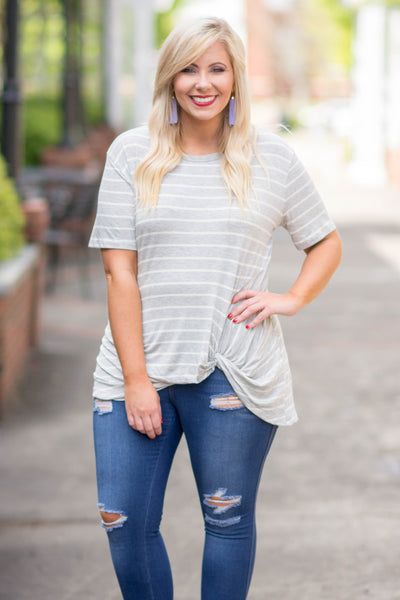 shirt, short sleeve, knotted hem, gray, white, striped, comfy