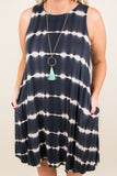 dress, tank top, pockets, short, flowy, white, tie dye, stripe, black