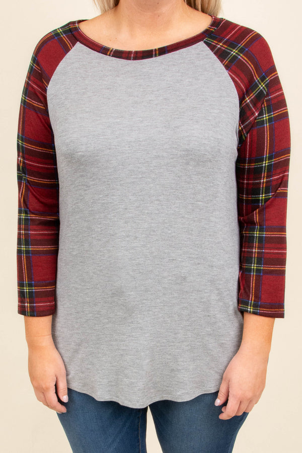 shirt, three quarter sleeve, curved hem, gray, solid, plaid sleeves, red, comfy, fall, winter