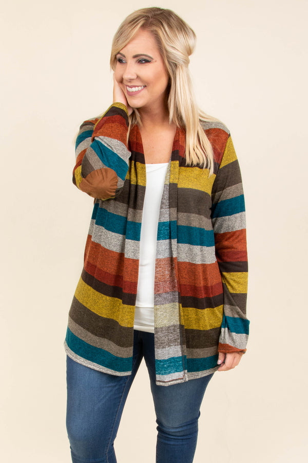 cardigan, long sleeve, elbow patches, teal, brown, yellow, burgundy, orange, gray, striped, comfy, fall, winter
