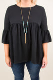 shirt, three quarter sleeve, bell sleeves, babydoll, flowy, black, comfy