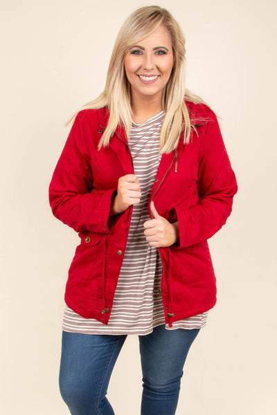 jacket, long sleeve, zippered, pockets, hood, drawstring waist, red, solid, outerwear, fall, winter