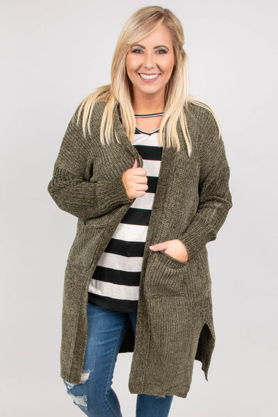 Fireside Nights Cardigan, Olive