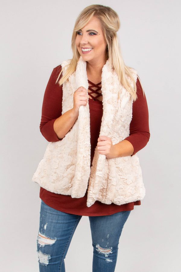 Feeling Fuzzy Vest, Natural