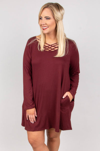 On The Outs Dress, Burgundy