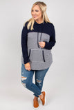 hoodie, long sleeve, hood, drawstrings, pocket, curved hem, long, navy, white, striped, colorblock, comfy, outerwear