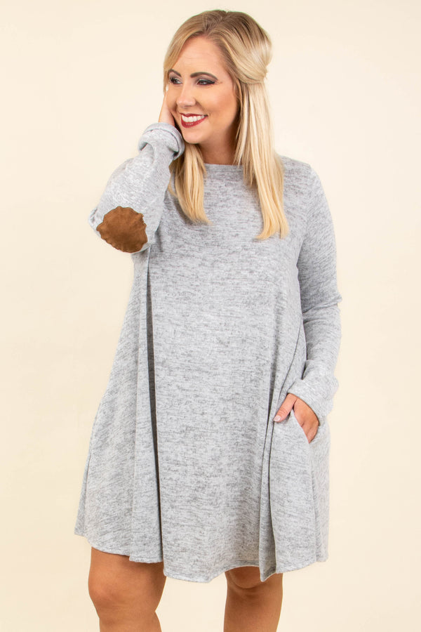 dress, short, long sleeve, heather gray, elbow patches, flowy, loose