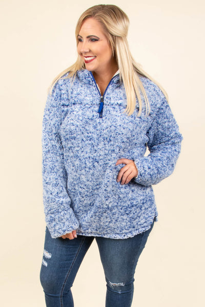 Fuzzy Feelings Pullover, Royal