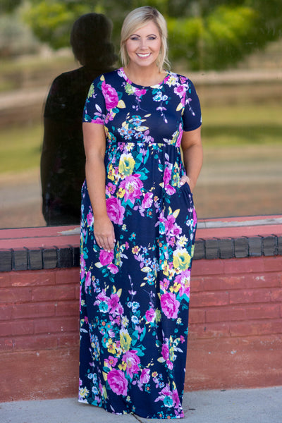 April Showers Maxi Dress, Navy-Fuchsia