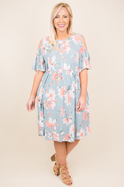 dress, midi, short sleeve, cold shoulder, fitted waist, flowy, blue, pink, white, floral, spring, summer