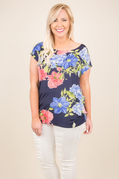 Floral Fever Top, Navy