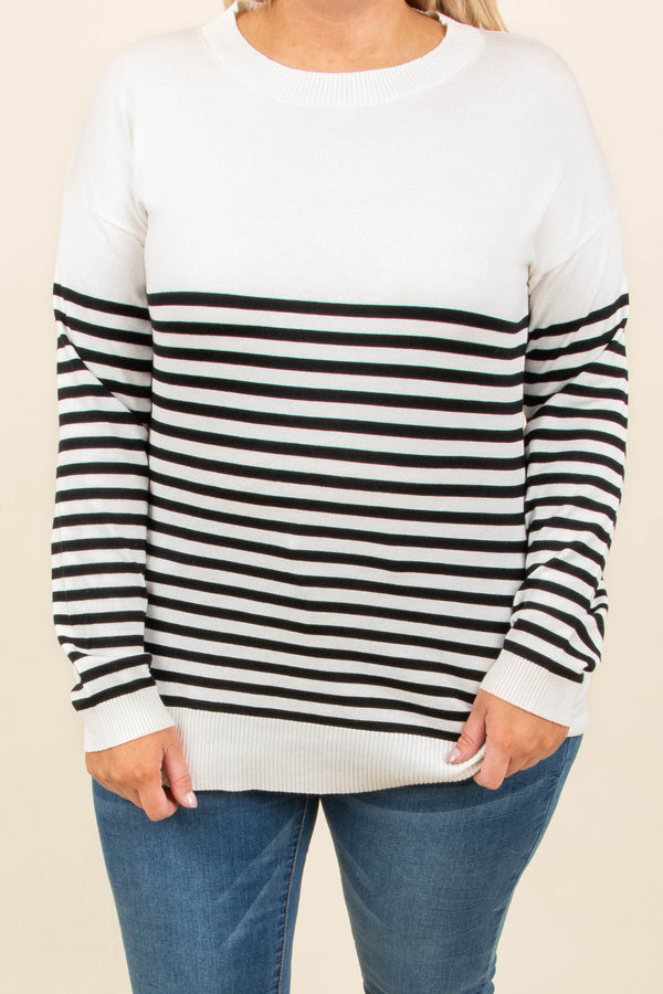 shirt, long sleeve, elbow patches, white, black, striped, fitted, comfy, fall, winter