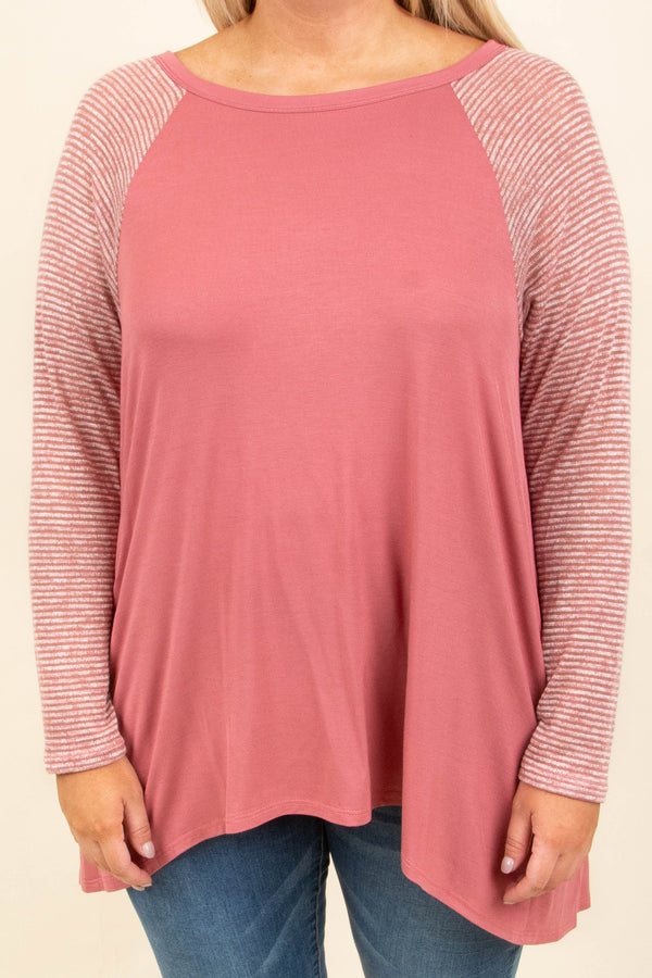 tunic, long sleeve, longer back, back slit, flowy, pink, striped sleeves, white, comfy, fall, winter