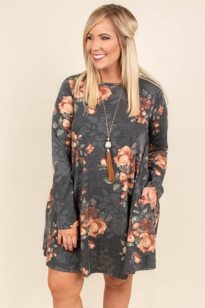 Slow Songs Dress, Charcoal