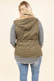 vest, zippered, drawstring waist, olive, solid, pockets, hood, outerwear, fall, winter