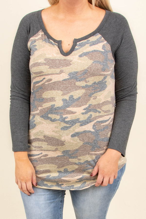 Crazy Over Camo Top, Olive