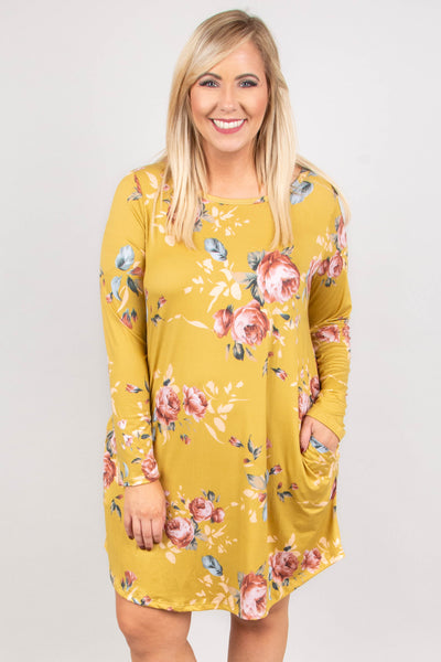 dress, short, long sleeve, pockets, flowy, mustard, floral, pink, white, green, blue, comfy