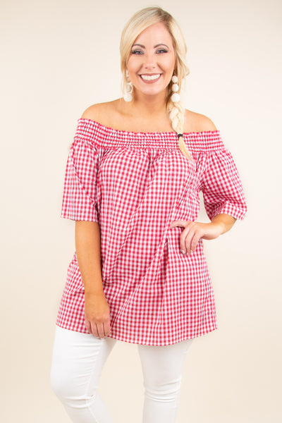 Picnic For Two Blouse, Red
