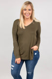 shirt, long sleeve, vneck, flowy, olive, solid, basic, comfy