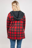 cardigan, long sleeves, hood, pockets, red, black, plaid, gray lining, gray hood, drawstrings, comfy, cozy, warm, fall, winter