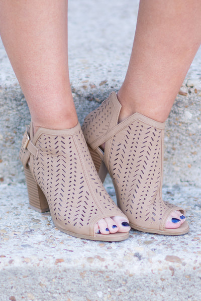 Moving On Up Booties, Tan