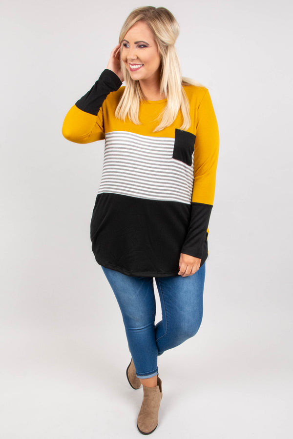 shirt, long sleeve, curved hem, scoop neck, chest pocket, mustard, black, gray, white, stripes, colorblock, comfy, fall, winter