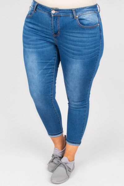 Spread The News Skinny Jeans, Medium Wash