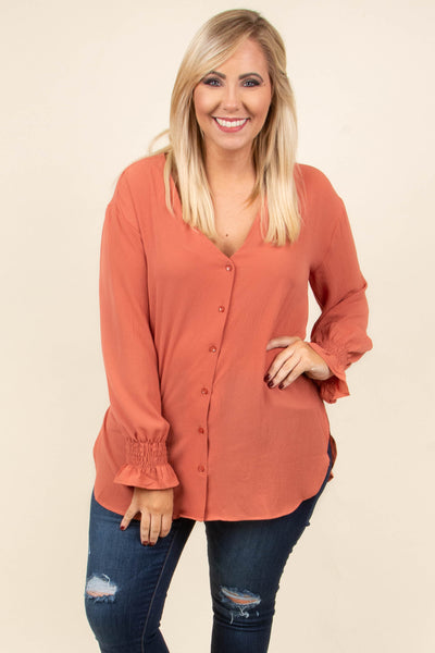 Smooth Moves Blouse, Rust
