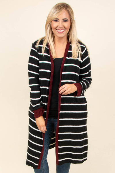 Make You Think Twice Cardigan, Black-Burgundy