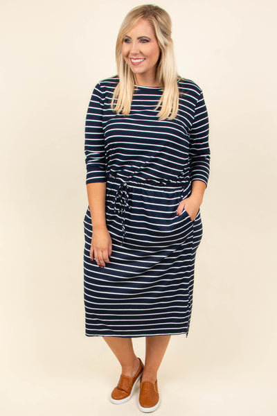 Lean On You Dress, Navy