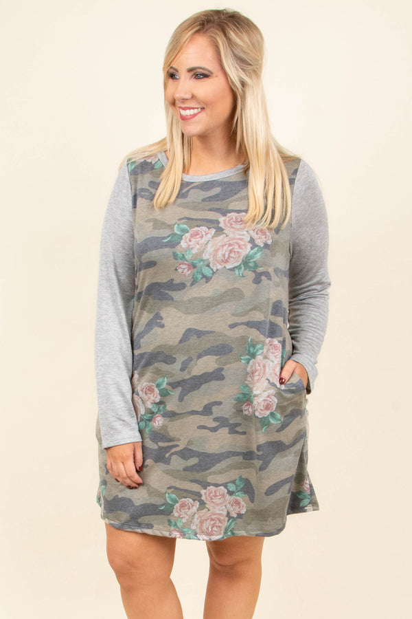 Craving Adventure Dress, Olive-Gray