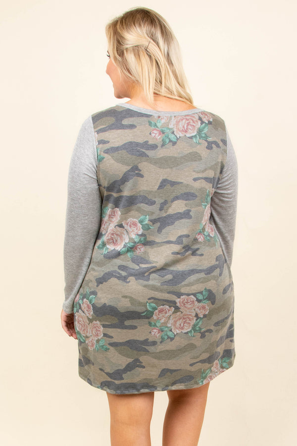 dress, short, long sleeve, pockets, green, camo, pink, green, floral, gray sleeves, flowy, comfy