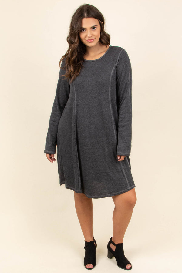 dress, short, long sleeve, cutout back, flowy, charcoal, comfy, fall, winter