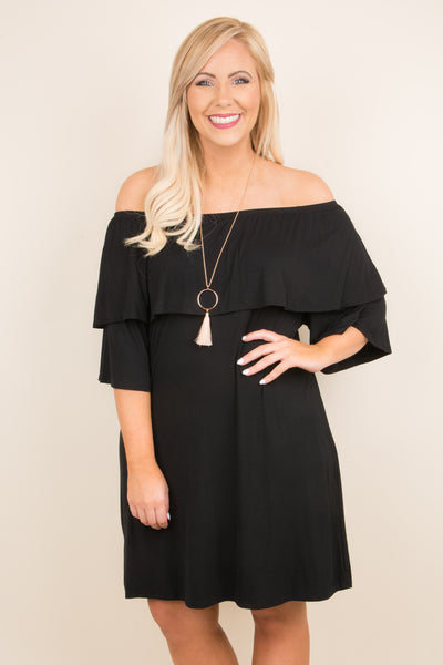 dress, short, three quarter sleeve, off the shoulder, ruffle top, flowy, black, comfy