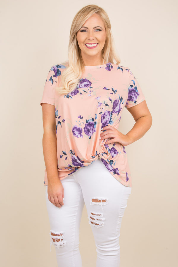 shirt, short sleeve, knotted hemline, short front, blush, floral, purple, blue, comfy