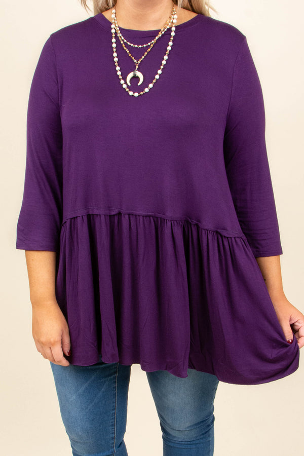 tunic, three quarter sleeve, babydoll, ruffle, flowy, long, purple, comfy, fall, winter