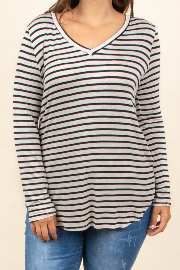 shirt, long sleeve, vneck, curved hem, tight sleeves, oatmeal, black, striped, comfy, flowy