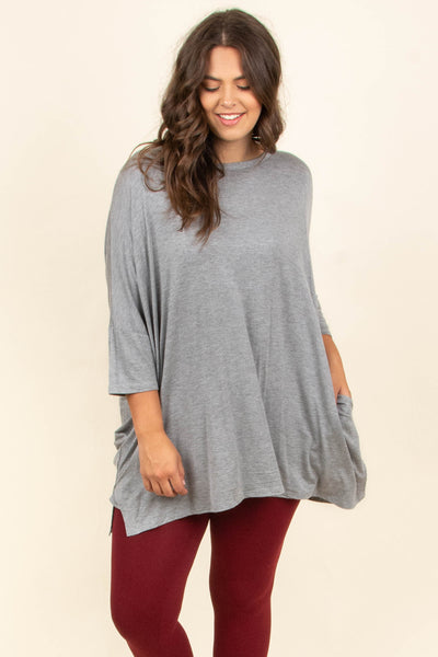 Happy As Ever Tunic, Heather Gray
