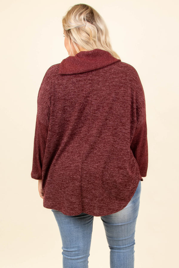 sweater, wine, long sleeve, cowl neck, buttoned collar, warm, cozy, fall, winter