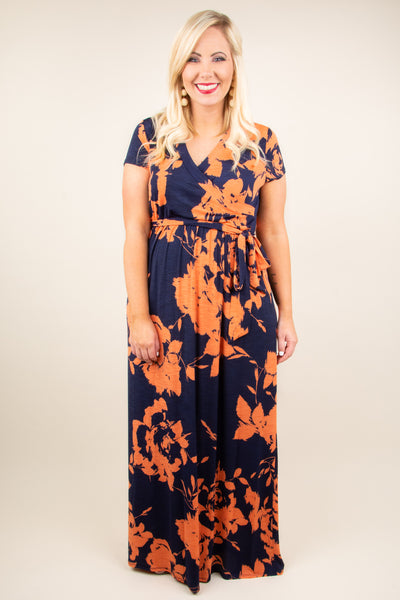 Lust For Life Maxi Dress, Navy-Coral