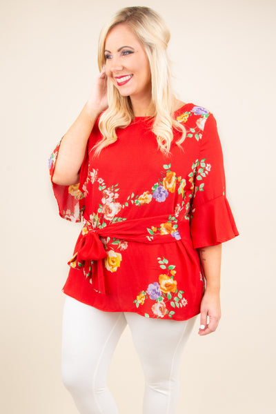 Time To Bloom Blouse, Red
