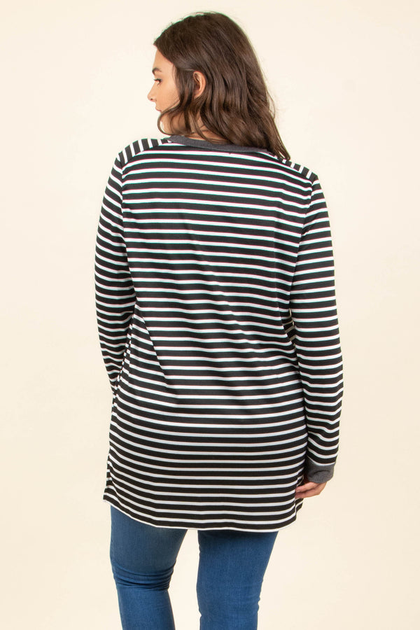 top, tunic, stripes, black, white, long sleeve, flowy, winter