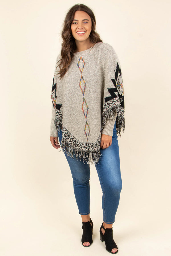 top, sweater, brown, aztec, half sleeve, frayed, fringe