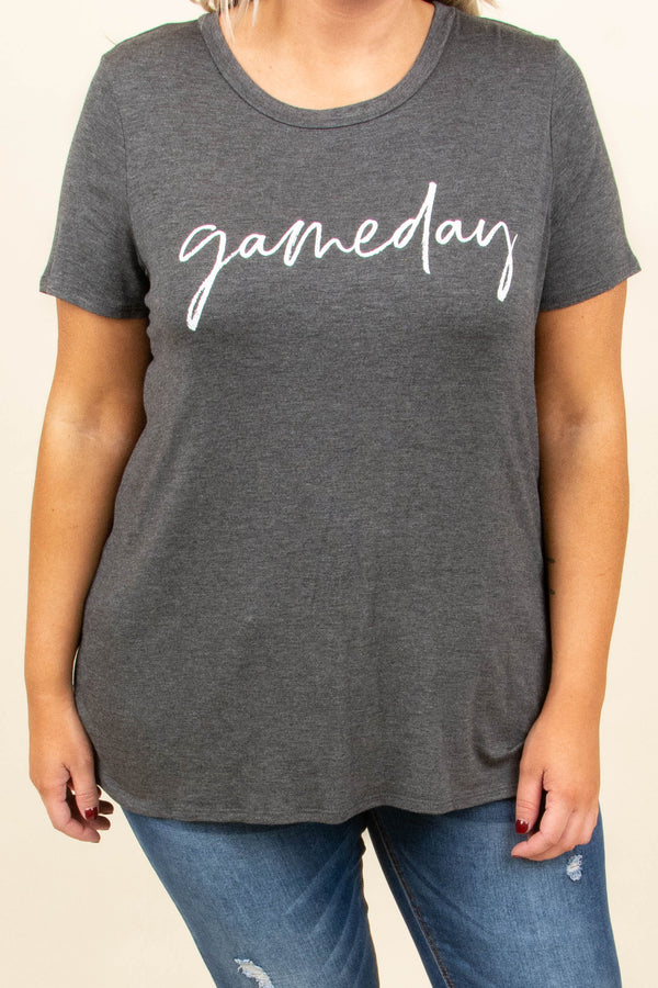 Fall Means Football Top, Charcoal