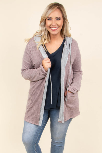 Comfort Zone Cardigan, Grey-Dusty Pink