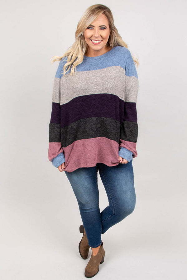 top, long sleeve, sweater, color block. blue, gray, charcoal, dusty pink