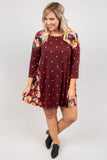 dress, baby doll dress, three quarter, polka dot, floral, burgundy, knee length